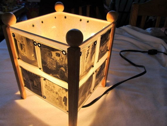 NEGATIVE PAST  rice paper lamp covered in antique sepia photo negatives