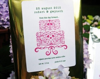 Personalized Wedding Coffee Favors - Wedding Cake Design (cake can be any color)