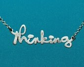 Thinking Sterling Silver Necklace 16in, Free Shipping