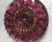 Czech Glass Button 36mm Shimmery Purple Magenta Glitterly 5F