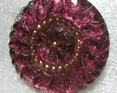 Czech Glass Button 36mm Shimmery Purple Magenta Glitterly 5F