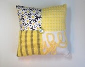 Chenille Pillow - Citron Gray Yellow Michael Miller Daisy Doolittle - Vintage Chenille Handmade CHARM Pillow