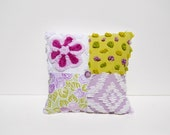 Chenille Pillow - Lavender Bacati - Flower Basket of Lavender and Lime Green Vintage Chenille Handmade Charm Pillow
