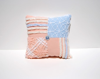 Chenille Pillow - Peach Everly - Peach Blue Vintage Chenille Handmade Charm Pillow