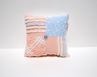 Chenille Pillow - Peach Everly - Peach Blue Vintage Chenille Handmade Charm Pillow