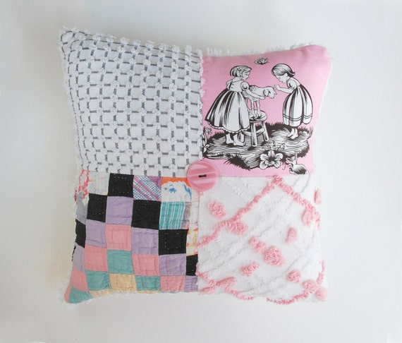 Chenille Pillow - Black & Pink Girl Children Toile Antique Postage Stamp Quilted Vintage Chenille Handmade CHARM Pillow