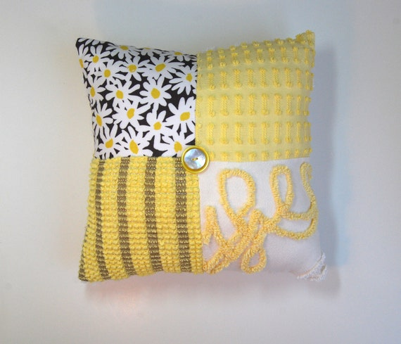Chenille Pillow - Citron Gray Yellow Michael Miller Daisy Doolittle - Vintage Chenille Handmade CHARM Pillow