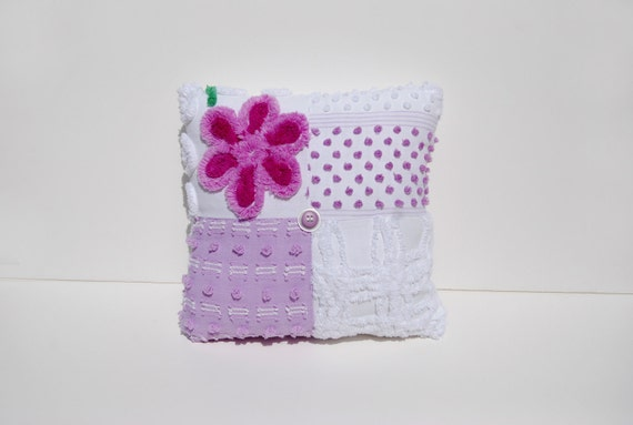 Chenille Charm Pillow - Lilly Buttons - Lavender Fuschia, White Floral Vintage Chenille Handmade Charm Pillow