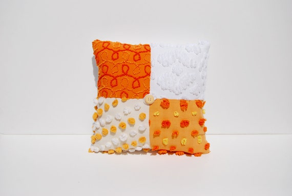 Chenille Pillow - Daring Daffodil - Bright Orange, Sunny Yellow Vintage Chenille Handmade Charm Pillow