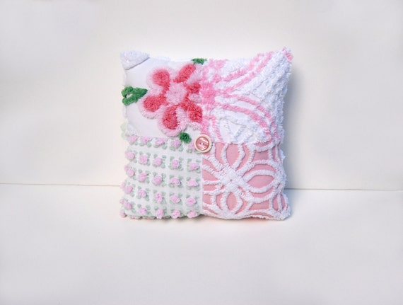 Chenille Charm Pillow - Primrose Pink - Pink and White Flowers Rosebuds Vintage Chenille Handmade Charm Pillow