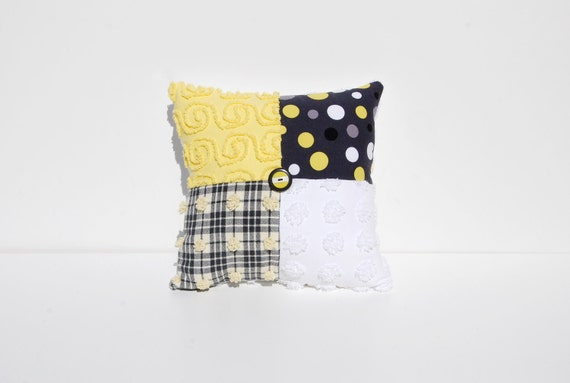 Chenille Charm Pillow - Canary Dot I- Black Gray Yellow Michael Miller Vintage Chenille Handmade Charm Pillow