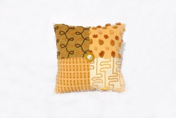 Chenille Pillow - Golden Gisele - Butterscotch, Caramel, Taupe Dulce de Leche Vintage Chenille Handmade Charm Pillow