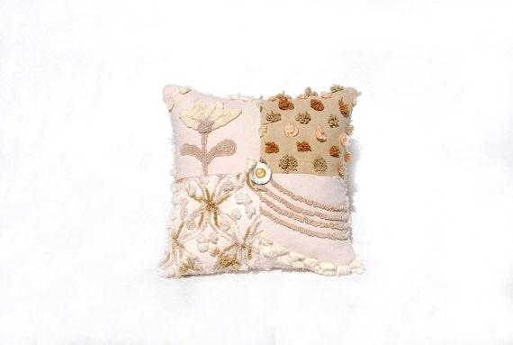 Chenille Pillow - Sweet Elise - Butterscotch, Caramel, Taupe Dulce de Leche Vintage Chenille Handmade Charm Pillow