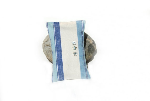 SALE ---Three Stars Beachy French Ticking Lavender Sachet