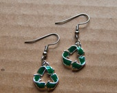 green recycle sign earrings