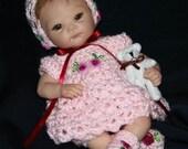 Crochet Pattern 1 - DRESS Set to fit 4-10inch Berenguer or OOAK Dolls