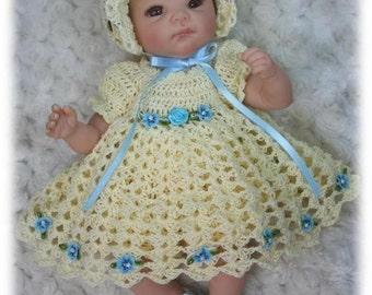 Crochet Pattern 6 - DRESS SET for 10 inch to 12 inch Baby Dolls