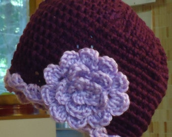 Easy Crochet Pattern for Women's Chemo Cap with Flower & Scalloped Edge. ((This is a pattern NOT a cap))