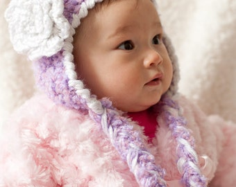Easy Crochet Pattern for Ear Flap Hat with Flower - Cute Photo Prop - Size Newborn to Adult. ((This is a pattern NOT a hat))