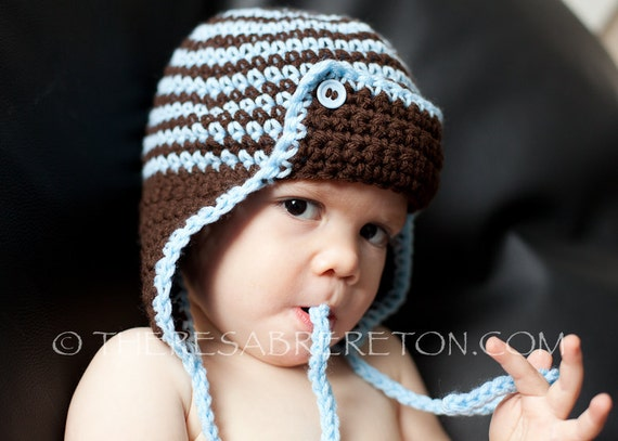 Crochet Newborn Aviator Hat Pattern : Easy Crochet Pattern for Striped Aviator Helmet / Hat Sizes