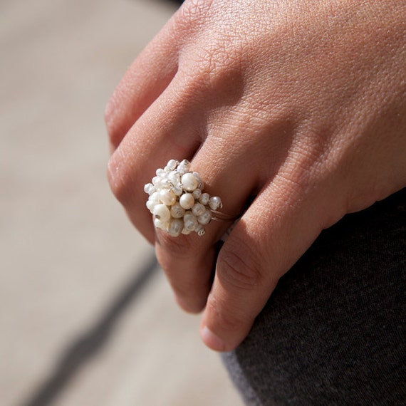 White and Cream Cluster Freshwater Pearl Adjustable Ring