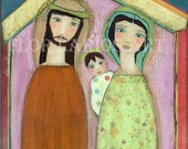 Nativity II - Folk Art  Collage Painting (7 x 7  inches Print) by FLOR LARIOS