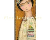 Frida with Little Parrot -   Print from  Painting by FLOR LARIOS (3 x 7 INCHES)
