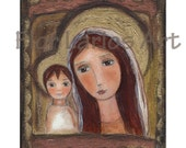 Reserved Listing for Stairwayheaven - Mother and Child I I-  Original Mixed Media Painting art by FLOR LARIOS