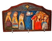 Nativity III with Wise Men - Wall Key Holder Mixed Media Art by FLOR LARIOS
