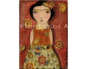 Frida Kahlo Flowers - Print  from  Painting by FLOR LARIOS ( 4 x 6 INCHES)