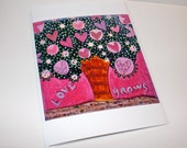 Love Grows - Tree Greeting Card 5 x 7 inches - Folk Art By FLOR LARIOS