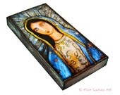 Virgin of Guadalupe -  Giclee print mounted on Wood (3 x 6inches) Folk Art  by FLOR LARIOS
