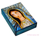 Virgin of Guadalupe - ACEO Giclee print mounted on Wood (2.5 x 3.5 inches) Folk Art  by FLOR LARIOS