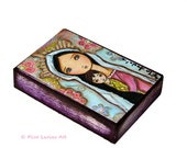 Madonna with Child  - ACEO Giclee print mounted on Wood (2.5 x 3.5 inches) Folk Art  by FLOR LARIOS