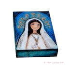 Our Lady of Lourdes with Rosary - ACEO Giclee print mounted on Wood (2.5 x 3.5 inches) Folk Art  by FLOR LARIOS