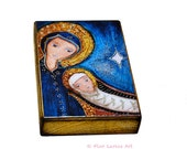 O Night Divine Mother and Child - ACEO Giclee print mounted on Wood (2.5 x 3.5 inches) Folk Art  by FLOR LARIOS