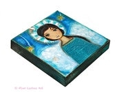 Angel -   Giclee print mounted on Wood (8 x 8 inches) Folk Art  by FLOR LARIOS