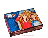 Nativity III - Aceo Giclee print mounted on Wood (2.5 x 3.5 inches) Folk Art  by FLOR LARIOS