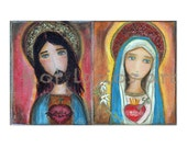 Sacred Heart Jesus and Mary -  Print from Painting (6 x 8  inches Print) by FLOR LARIOS