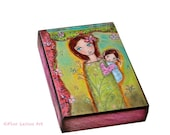 Nuestra Primavera - Our Spring - ACEO Giclee print mounted on Wood (2.5 x 3.5 inches) Folk Art  by FLOR LARIOS