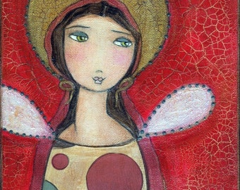 Angel Girl II - Reproduction from Painting by Flor Larios (6 x 8 INCHES PRINT)