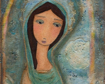 Virgen de Cuapa - Folk Art (6 x 8 or 5 x 7  inches PRINT)  by FLOR LARIOS