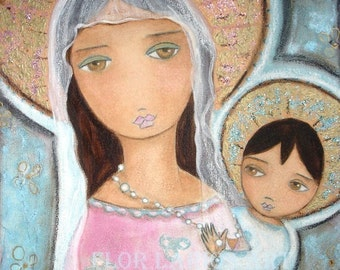 Mary with the Rosary - Folk Art  Print from Painting (6 x 8  inches PRINT) by FLOR LARIOS