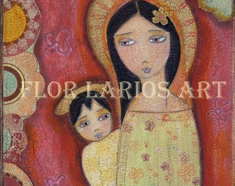 Madonna II Print  from Painting by FLOR LARIOS ( 7x 7 Inches)
