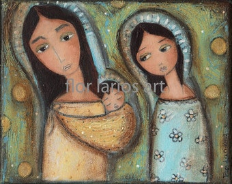 Joseph -  Mary - and  Jesus-Print from Painting by FLOR LARIOS (6 x 8 Inches PRINT)