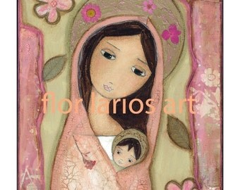 Madonna in Pink - Folk Art  PRINT from Mixed Media Collage Painting (6 x 8  inches Print) by FLOR LARIOS