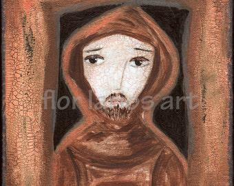 Saint Francis of Assisi - Folk Art (7 x 7 inches PRINT)  by FLOR LARIOS