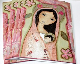 Madonna in Pink - Greeting - Holiday - Cards - Pack of 4 - Folk Art By FLOR LARIOS