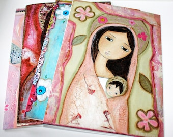 Madonnas and Angels - Greeting - Holiday - Cards - Pack of 4 - Folk Art By FLOR LARIOS