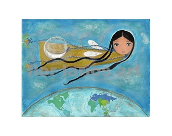 Moon Fairy -  Print from Original Painting by FLOR LARIOS (6 x 8 INCHES)